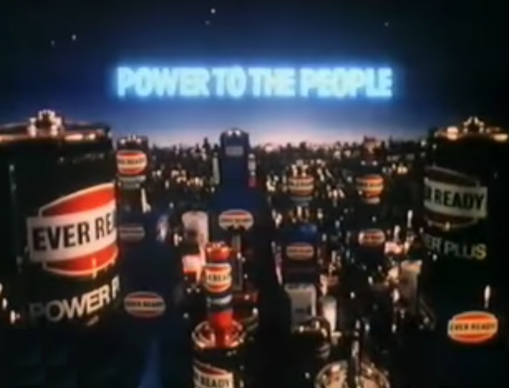 The Ever Ready 'Power To The People' advert, as discussed by Tim Worthington and Emma Burnell in Looks Unfamiliar.
