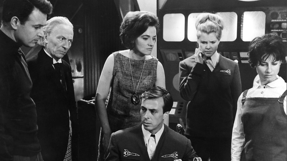 Ian Chesterton, Doctor Who, Barbara Wright, Captain Maitland, Carol Richmond and Susan in Doctor Who And The Sensorites (BBC1, 1964)..
