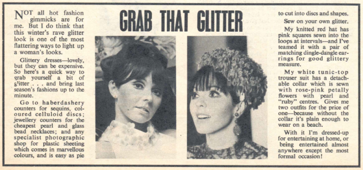 Susan Maughan's fashion tips for TV Times, 1966.
