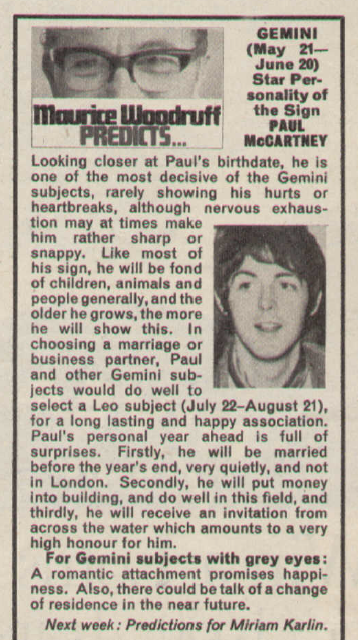 Maurice Woodruff's horoscope for Paul McCartney for 1967.