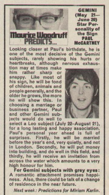 Maurice Woodruff's horoscope for Paul McCartney for 1967.