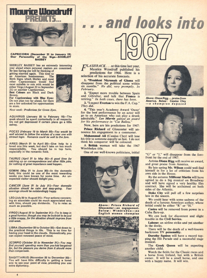 Maurice Woodruff's predictions for 1967 for TV Times
