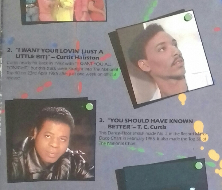 Credits for Curtis Hairston and T.C. Curtis from Now Dance (EMI/Virgin, 1985), the first ever Now That's What I Call Music! spinoff.