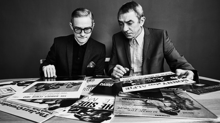 Martin Freeman and Eddie Piller, looking at albums featured on Jazz On The Corner.