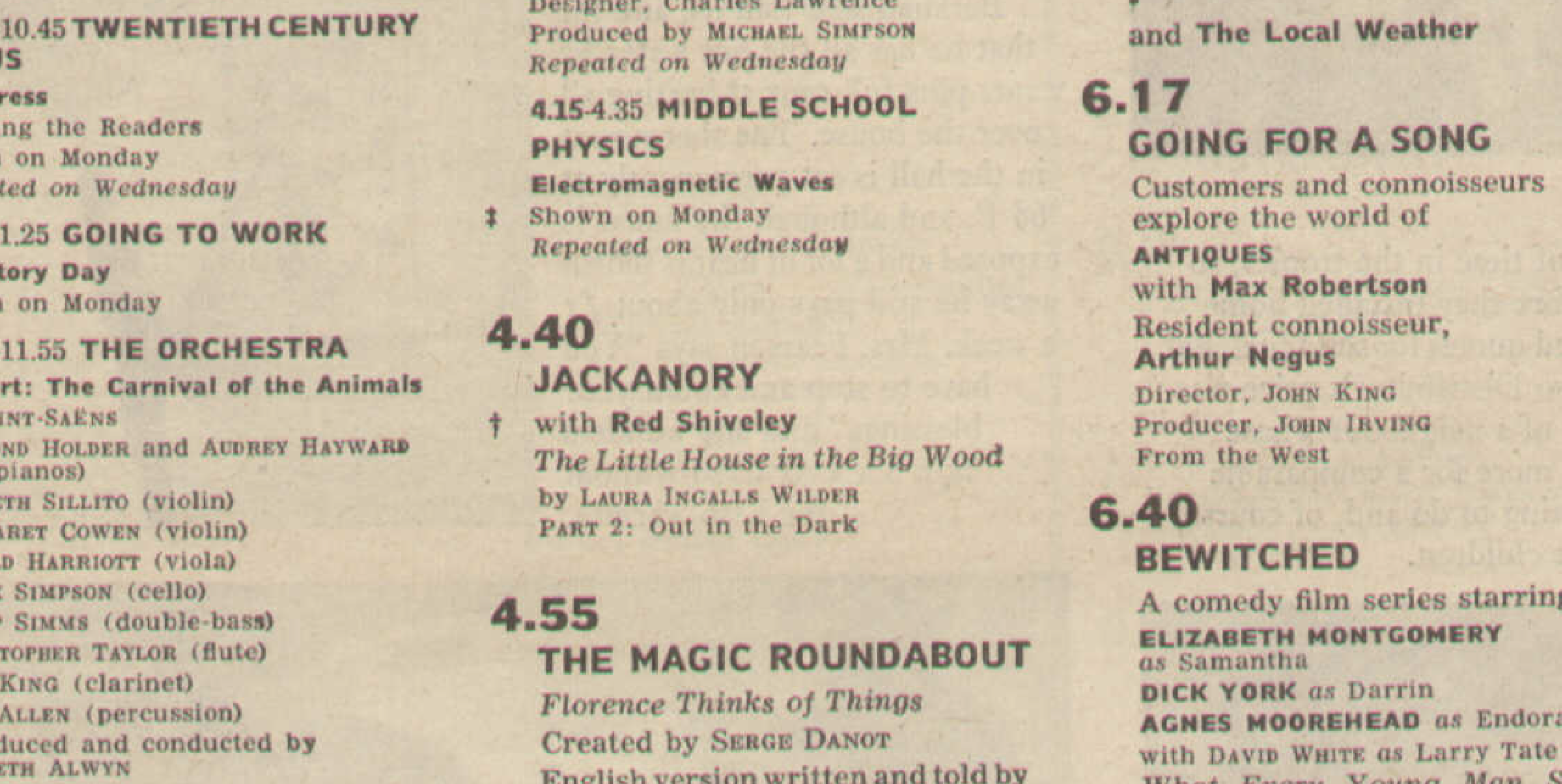 Radio Times listing for Jackanory: The Little House In The Big Wood (BBC1, 1966).