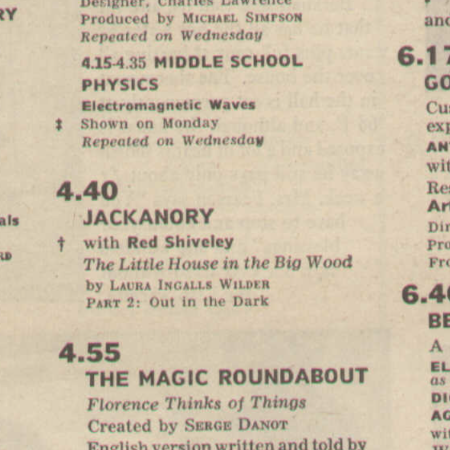 Radio Times listing for Jackanory: The Little House In The Big Wood (1966)