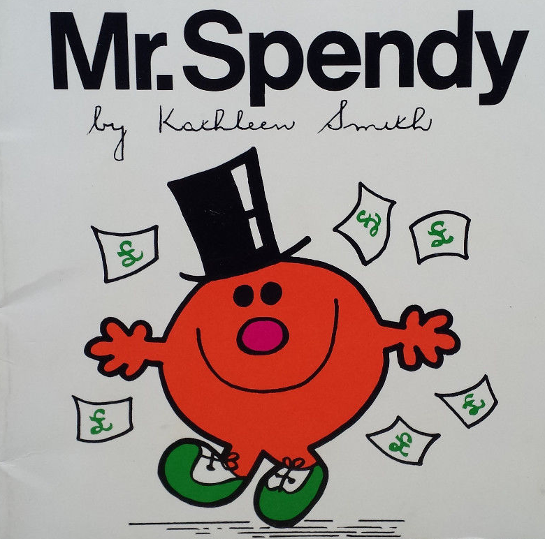 Mr. Spendy, a rare tie-in Mr. Men book not written by Roger Hargreaves, as discussed by Tim Worthington and Jonny Morris in Looks Unfamiliar.