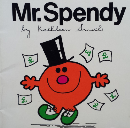 Bootleg Mr. Man 'Mr Spendy', as discussed by Tim Worthington and writer Jonny Morris in Looks Unfamiliar.