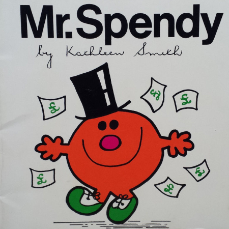 Mr. Spendy, a rare tie-in Mr. Men book not written by Roger Hargreaves, as discussed by Tim Worthington and writer Jonny Morris in Looks Unfamiliar.