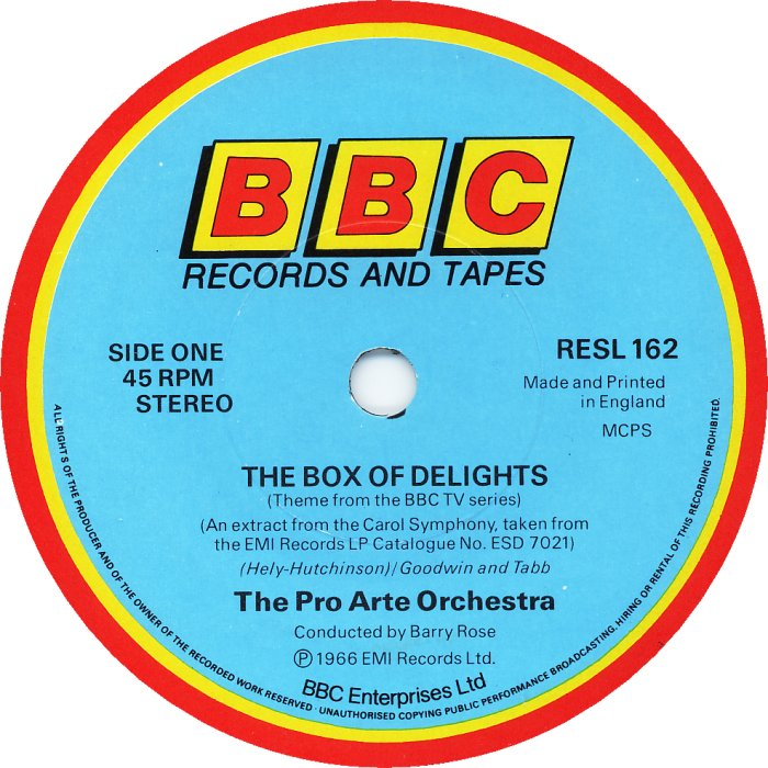 The Box Of Delights by The Pro Arte Orchestra (BBC Records And Tapes RESL162, 1984)..