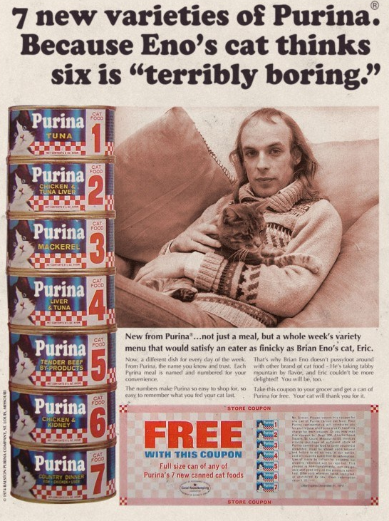 Brian Eno (and his cat) advertising Purina.