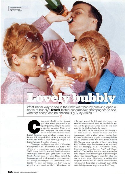 The Gentle People testing champagne for Stuff Magazine.