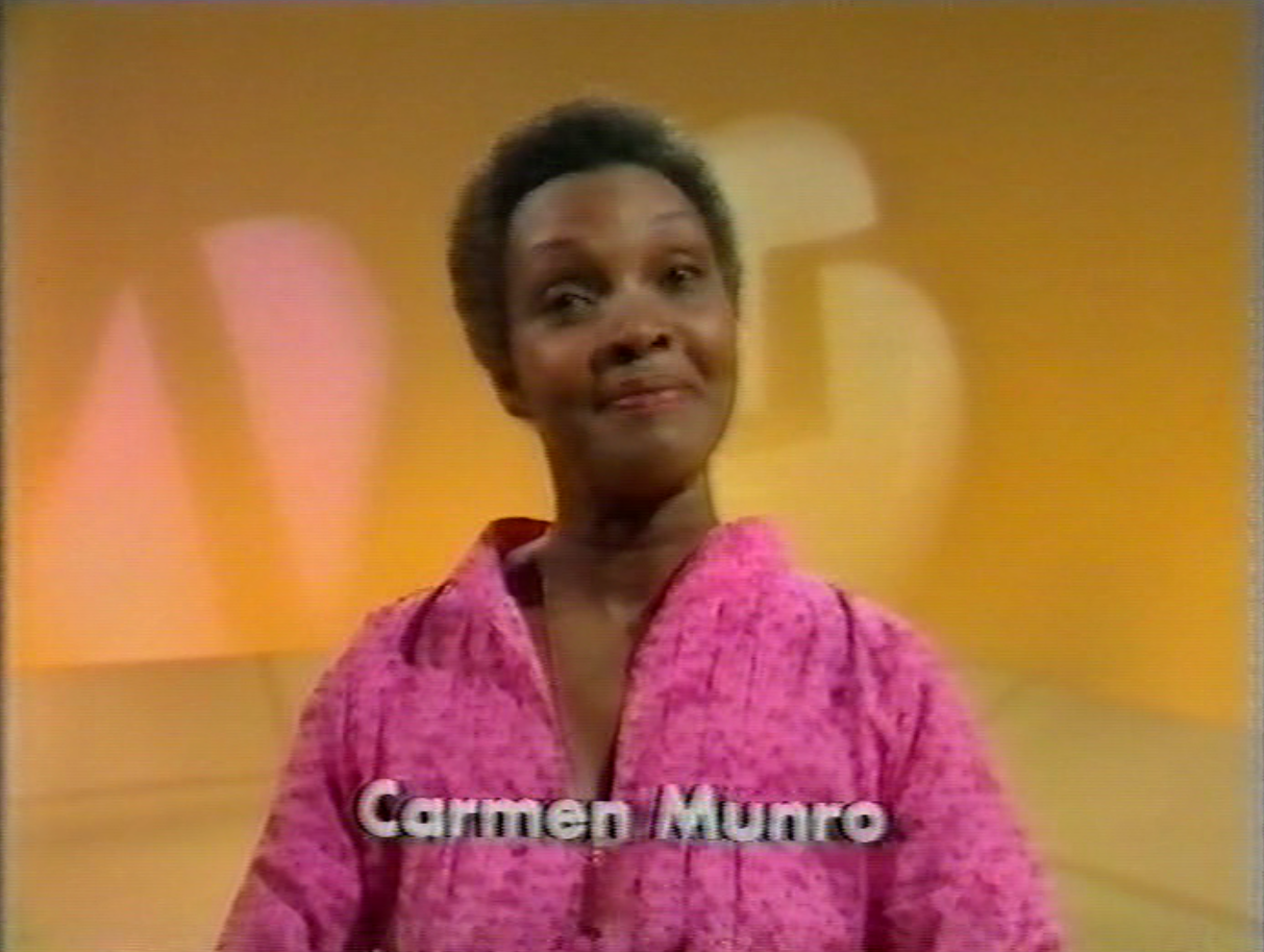 Carmen Munro's credit from the end titles of How Do You Do! (BBC1, 1977).