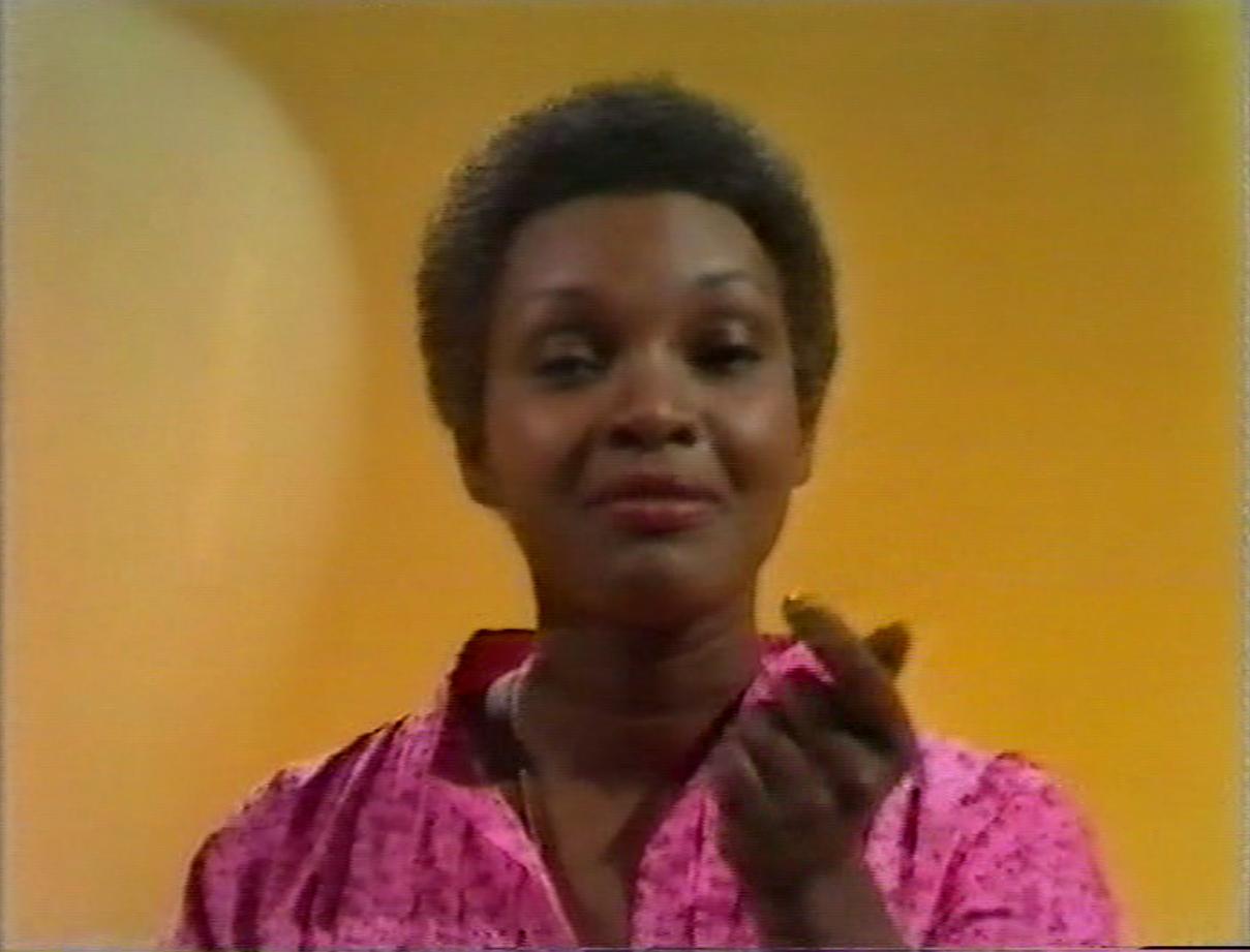 Carmen Munro presenting How Do You Do! (BBC1, 1977).