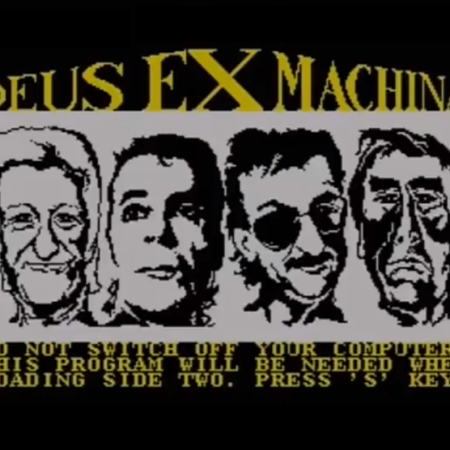 ZX Spectrum game Deus Ex Machina, as discussed by Tim Worthington and writers Stephen Brotherstone and Dave Lawrence in Looks Unfamiliar.