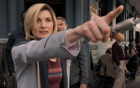 Jodie Whittaker, Bradley Walsh and Tosin Cole in Doctor Who: Rosa.