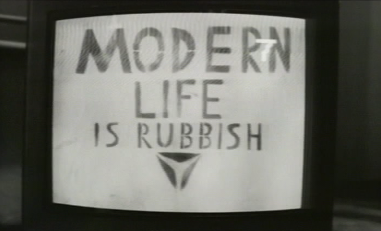 Modern Life Is Rubbish logo in the promo video for For Tomorrow by Blur  (Food/EMI, 1993).