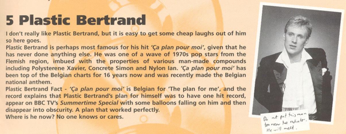 Richard Herring on Plastic Bertrand, from Fist Of Fun (BBC Books, 1995).
