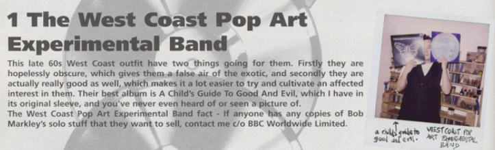 Stewart Lee on The West Coast Pop Art Experimental Band.