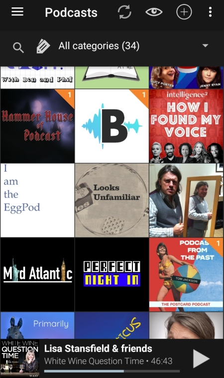 Some of the podcasts I listen to. And Looks Unfamiliar.