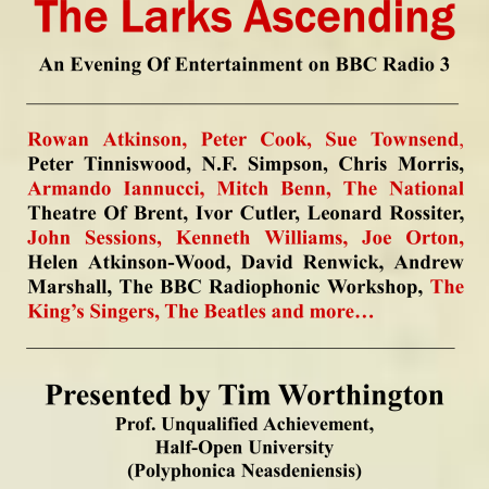 The Larks Ascending - a guide to comedy on BBC Radio 3 by Tim Worthington.