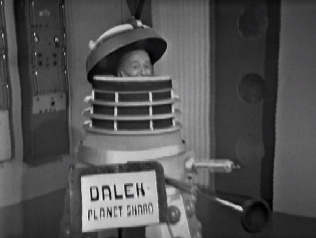 William Hartnell hiding in a Dalek in Doctor Who - The Space Museum (BBC1, 1965).