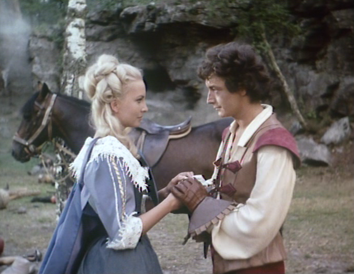 Genevieve Casile and Robert Etcheverry in The Flashing Blade (ORTF/BBC, 1967).