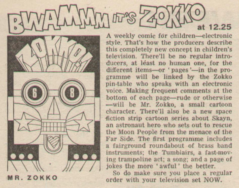 Radio Times feature on Zokko! (BBC1, 1969)