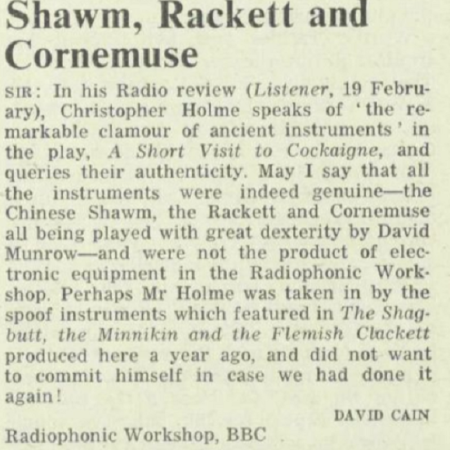 David Cain of the BBC Radiophonic Workshop writes to The Listener to correct them on something...
