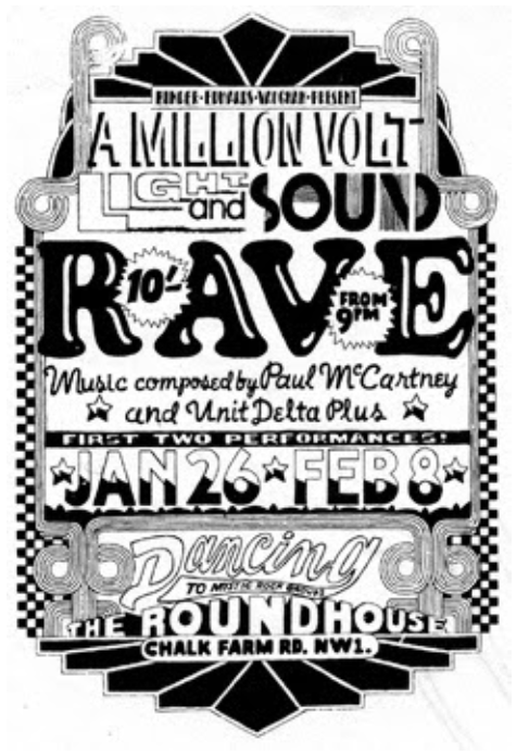 Poster for The Million Volt Light And Sound Rave, featuring The Beatles' Carnival Of Light.