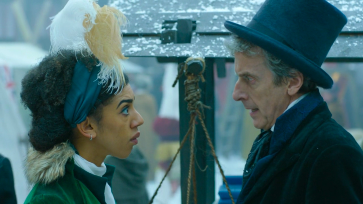 Peter Capaldi and Pearl Mackie in Doctor Who - Thin Ice.