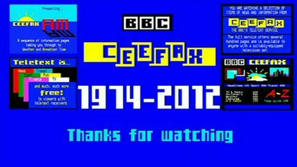 The last ever page of the BBC's teletext service Ceefax from 2012.