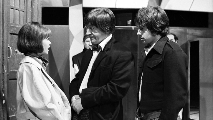 The Doctor (Patrick Troughton) bids farewell to Zoe (Wendy Padbury) and Jamie (Frazer Hines) at the end of Doctor Who - The War Games episode 10 (BBC1, 1969).