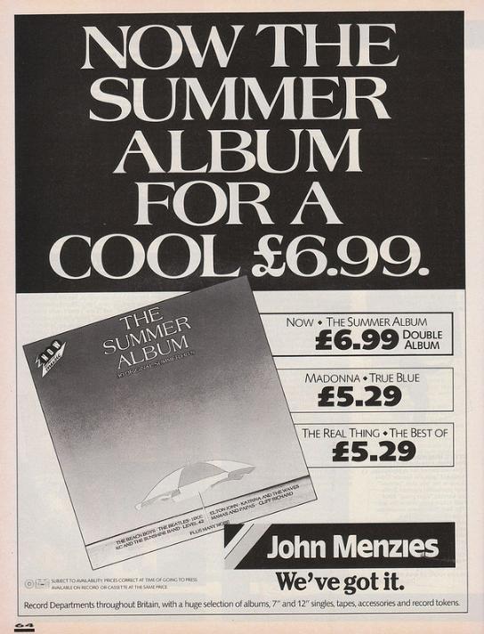 John Menzies advert for Now - The Summer Album (EMI/Virgin, 1986) from Smash Hits (1986).