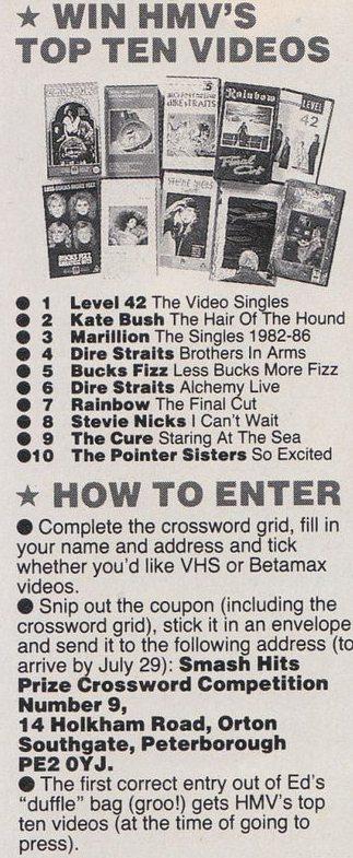 HMV Top Ten Videos competition from Smash Hits (1986).