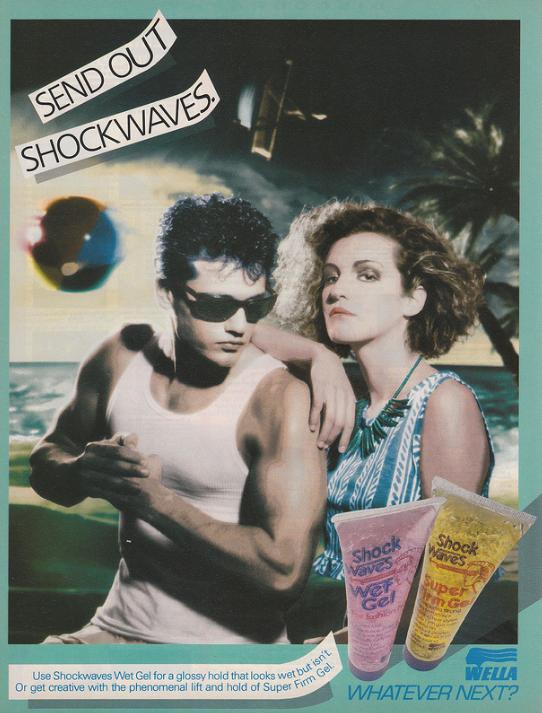 Advert for Wella Shockwaves Wet Look Gel from Smash Hits (1986).