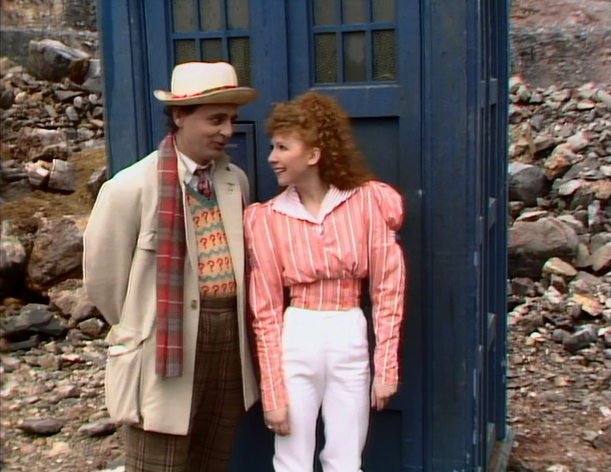 The Doctor (Sylvester McCoy) and Mel (Bonnie Langford) in the last scene of Doctor Who - Time And The Rani (BBC1, 1987).