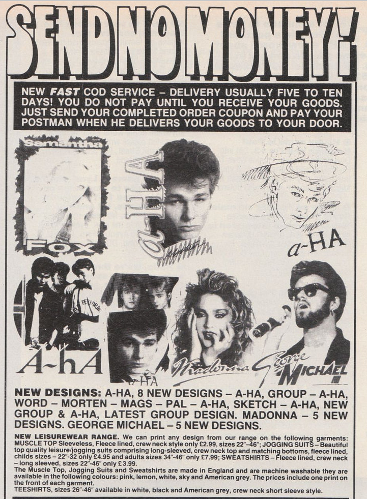 Pop T-Shirts advert from Smash Hits (1986).