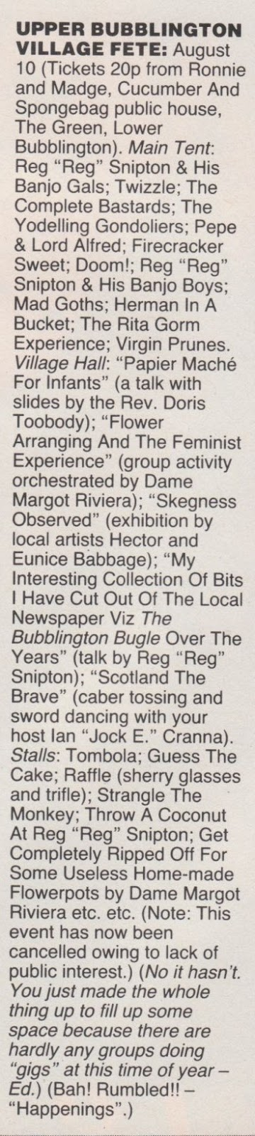 Upper Bubblington Village Fete spoof listing from Smash Hits (1986).