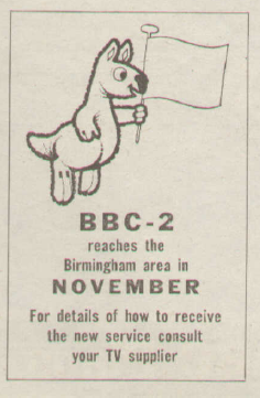 BBC2 launch announcement, Radio Times 1965.