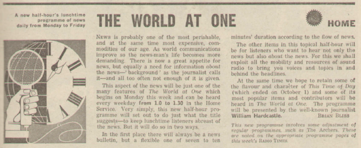 BBC Home Service preview, Radio Times 1965.