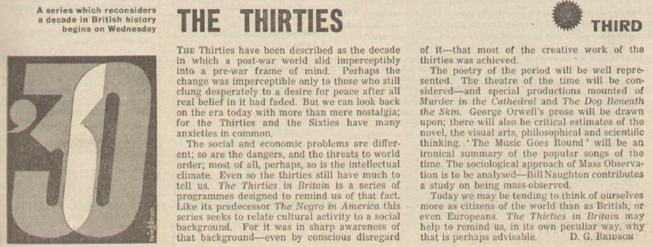 BBC Third Programme preview, Radio Times 1965.