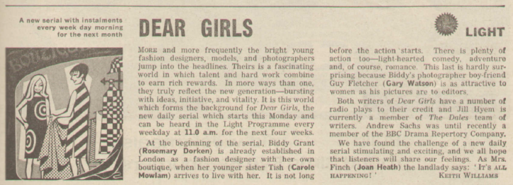 BBC Light Programme preview, Radio Times 1965.