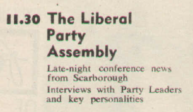 Liberal Party Assembly listing, TV Times 1965.