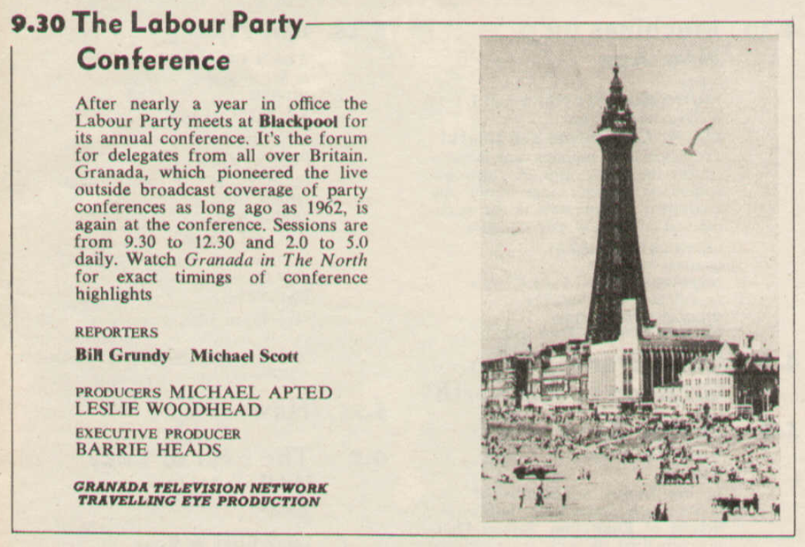 Labour Party Conference listing, TV Times 1965.