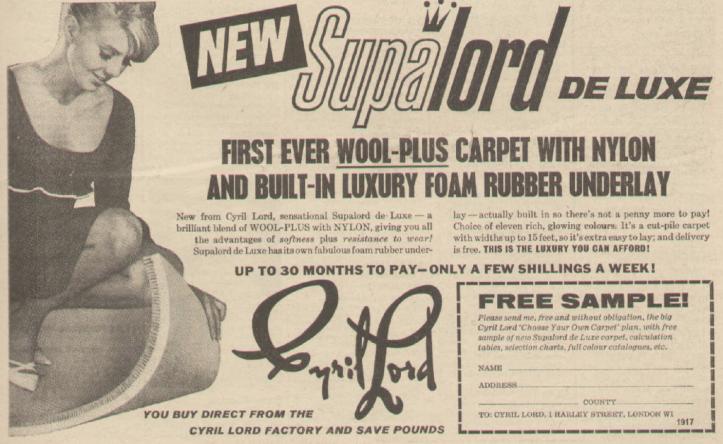 Cyril Lord advert, Radio Times 1965.