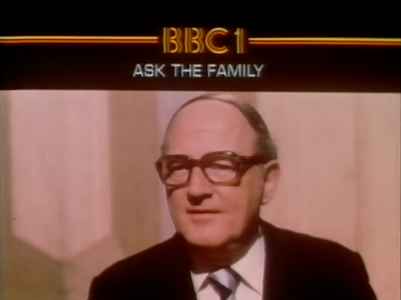 BBC1 continuity slide for Ask The Family (BBC1, 1967-84).