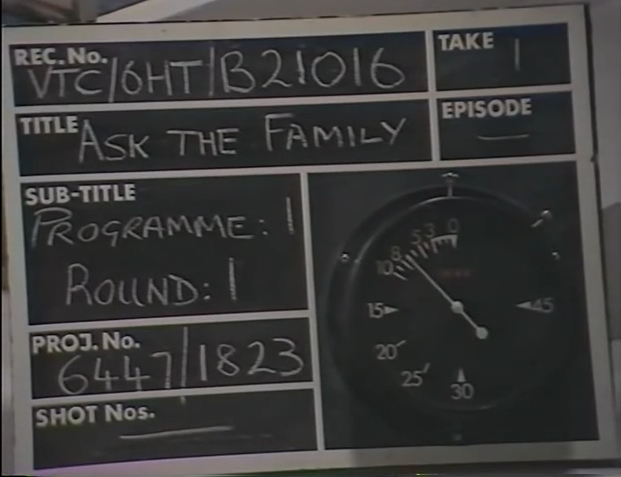 Production slate for Ask The Family (BBC1, 1967-84).
