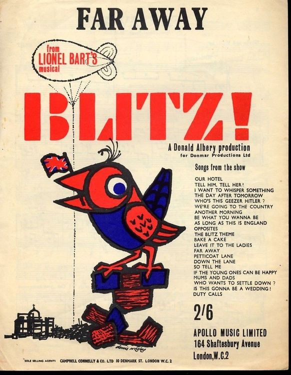 Sheet Music for Far Away from Lionel Bart's Blitz! (1962).