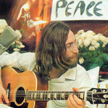 John Lennon, giving peace a chance in 1969.